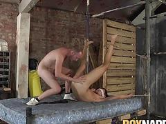 Horny dom Sean Taylor feeds his blindfolded sub with hot cum