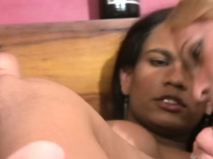T-girl babes get their massive assed penetrated in foursome