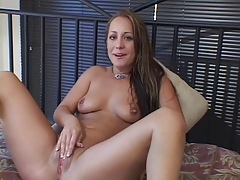 Sexy young b-cup brunette fingers her pussy and clit