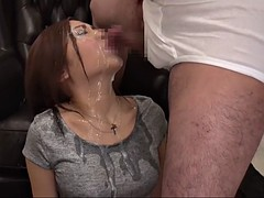 beutiful japanese girl sprayed with semen by a couple of lovers