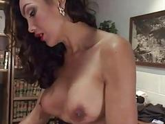 Provocative brunette shemale fucks her boyfriend on the table hard