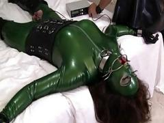 Playful sex between latex shemale and her dominant partners cock