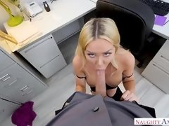 Big titted blonde babe, Rachelle Richey gets excited around coffee break and fucks guys at work