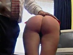 horny blonde is spanked by a guy