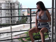 Public nudity on the hotel balcony