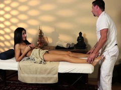 Pussylicked beauty fucked hard by masseur