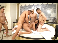 Hot shemale fucked by four guys at once