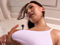 Japanese beauty jet jizzed on tits