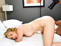 Pale curly blonde with small tits is from a bbc destroyed