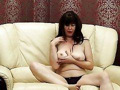 Big natural tits and a hot bush look good on this mature chick