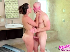 Busty brunette Ashley Adams gets oiled and banged