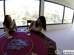 Hot chicks lose in poker gets fucked POV