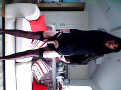 Playing with myself black lace dress part one.