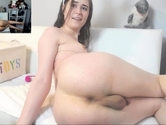 Pretty shemale with nice tits fucks her ass with sex toys