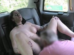 Sexy passenger anal banged by the driver