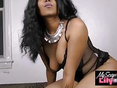 Horny Lily XXX Porn Sexy Indian Babe In Black Lingerie
