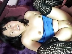 Asian in a miniskirt spreads for his old man dick