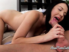 Long haired brunette blowing a big prick
