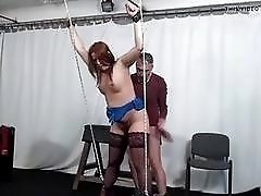 Tied up sub slut mouth fucked hard by master BDSM