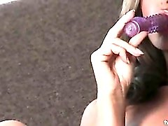 Heather Vandeven playing with purple dildo