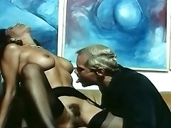 Italian retro mature guy licks hairy pussy and fucks it hard with big cock