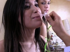 Teen lesbians humiliated for initiation