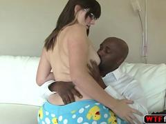 Awesome brunette Alice Nysm dreams to fuck her stepdad black huhe cock