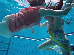 euro babes liza and alla take their nice dresses underwater