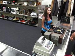 Busty babe sells vinyl tiles and rammed