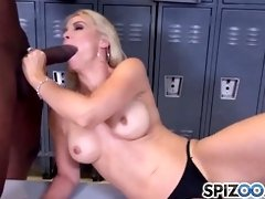 Awesome blonde bitch, Sarah Vandella is giving a nice blowjob to a black guy, in the locker room