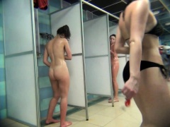 Voyeur spying on delightful Russian girls taking a shower