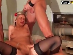 Three hard cocks fuck the blonde in anal. She is with experience in anal sex.