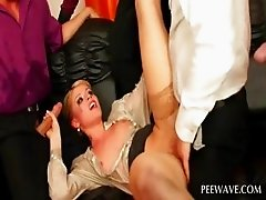 Hoe gets pissed on while fucked