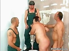 Brunette mature slut surrounded by three part2