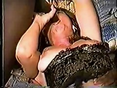 Hot mature wife in lingerie goes black