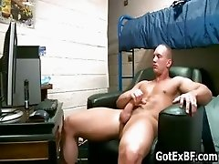 Muscled straight guy jerking his massive part4