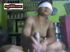 Tamil aunty blindfolded doing handjob and blowjob to her husband.Hot busty desi Aunty
