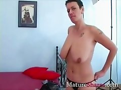 Busty amateur housewife mouth fucking