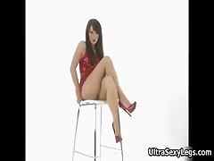 Hot brunette babe on high heels showing part5
