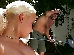 Grandpa fucking and pissing on sexy blonde