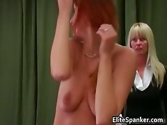 Nasty ginger girl gets whipped by blond part1