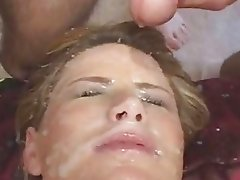 Bukkake fest on blondes face after wild gangbang