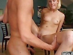 Hardcore sex on the floor with hitchhiker blonde girl