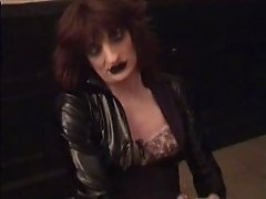 Heavy makeup tranny Cassy stroking hard cock