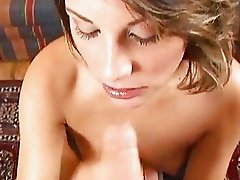 Jessica May juices the jizz from a rigid fuckstick as she sucks its shaft